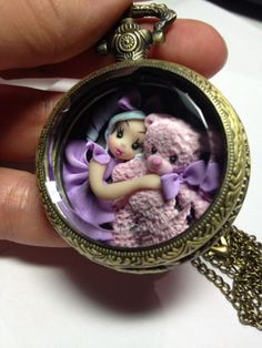 Polymer clay pendant,little girl in polymer clay,dolls,miniatures,gift for her,sculptures in polymer clay,ooak dolls,pocket watches