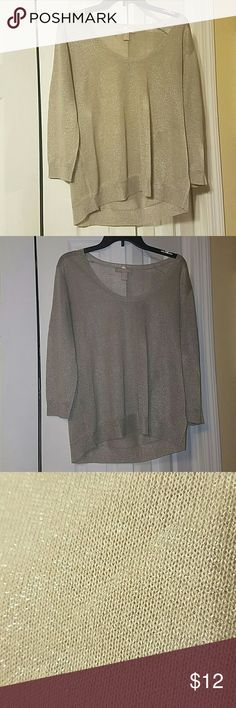 Champagne blouse with shimmer/sparkles Has silver shimmer and made out of thin material to be layered. Banana Republic Tops Blouses