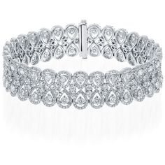 18k white gold diamond bracelet ($45,000) ❤ liked on Polyvore featuring jewelry, bracelets, necklaces, diamond bangles, white gold jewellery, 18k bangle, diamond jewellery and white gold bangle