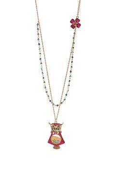 Owl Long Pendant Necklace by Betsey Johnson Jewelry & Watches on @HauteLook