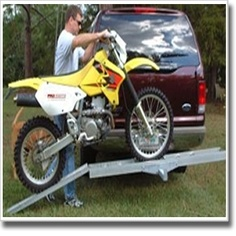 """Motorcycle Scooter Dirt Bike Carrier Hauler Rack Ramp -This motorcycle carrier is designed for bikes with up to 5 1/2"""" wide tires. The carrier measures 75""""'s and can handle motorcycles larger. The motorcycle pictured is a suzuki 400 DRZ and measures 84""""'s from outside tire to outside tire. Extremely lightweight combination of aluminum and powder coated steel construction - 45 lbs. (all steel carriers usually have the same weight limit but weigh much more making it difficult to carry or…"""