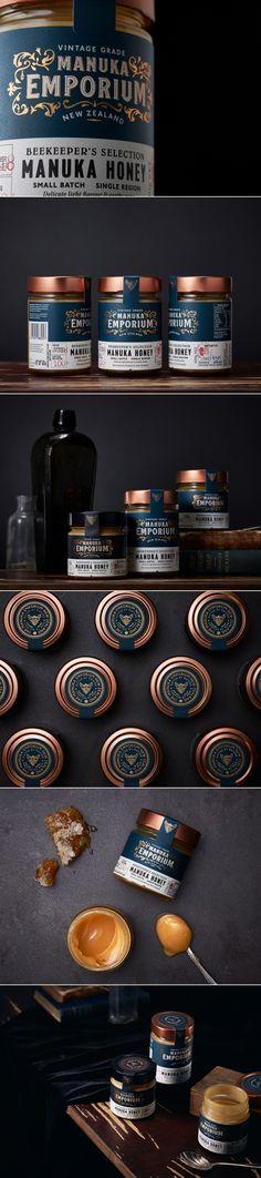 Manuka Emporium manuka honey packaging by On Fire Design Honey Packaging, Bottle Packaging, Pretty Packaging, Beauty Packaging, Brand Packaging, Branding Agency, Branding Design, Label Design, Package Design