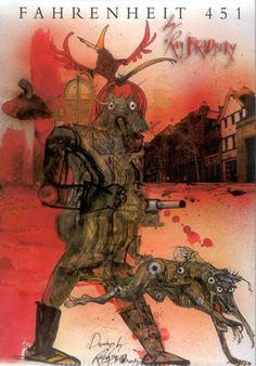 Slideshow of different colors for Fahrenheit 451. I particularly liked this one by Ralph Steadman.    Ray Bradbury's Fahrenheit 451 Book Covers Through Time - Slate Magazine    http://www.slate.com/slideshows/arts/ray-bradburys-fahrenheit-451-book-covers-through-time.html#slide_10