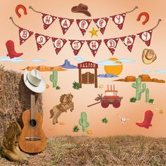 Western Wall Decals. Peel & stick vinyl. Removable, reusable, non-toxic, BPA free. Made in USA.  $45.00