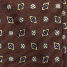 Handrolled Wool/Silk Medallion Silk Tie - Chocolate/Blue/Custard