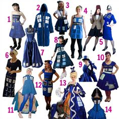 TARDIS dress (and other clothing) inspiration, how-to's and resources as part of the #doctorwhosewalong. For details and links to all these creations check out: http://fanbloomingtastic.typepad.com/blog/2013/11/making-a-tardis-dress-inspiration-and-resources-doctorwhosewalong.html