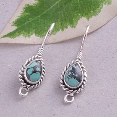 925 SOLID STERLING SILVER TURQUOISE ANTIQUE EARRING JEWELLERY 4.70g ER0653 #Handmade #Earring