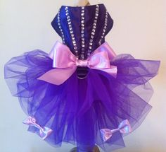 Beautiful Purple Dog- Dress/Gown for special occasion. ., made of high quality materials ( Bridal shiny satin, tulle) ), embellished w /