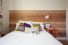 "Living With Kids: Jillian Murphy, love the off center wood wall ""headboard"""