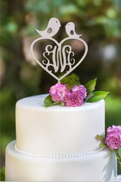Buythrow Customized Monogram Love Birds Wood Cake Topper with Heart wedding cake topper free shipping 10pcs