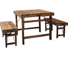 Farmhouse Small Wood Planks Dining Table with Benches