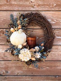 Seashells and Beads Grapevine Wreath by FloralsAndSpice on Etsy
