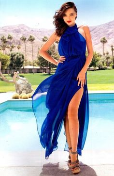 Miranda Kerr in a beautiful blue maxi dress http://www.luvtolook.net/2013/05/miranda-kerr-in-beautiful-blue-maxi.html