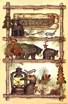 Lodge Welcome by Linda Spivey art print Country Art, Country Primitive, Primitive Decor, Teddy Bear Crafts, Teddy Bear Pictures, Poster Prints, Art Prints, Posters, Pintura Country