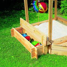 Sandkasten Holz PROMEX «Peter Pan» Dach Sitzbank Spielzeugkiste Sandkiste | Kaufen Holz-Haus.de Garten-Online-Shop