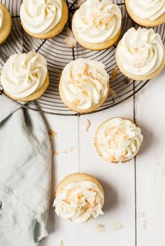 Vanilla Bean-Coconut Cupcakes with Coconut Frosting   The Modern Proper Birthday Party   BBQ   Potluck