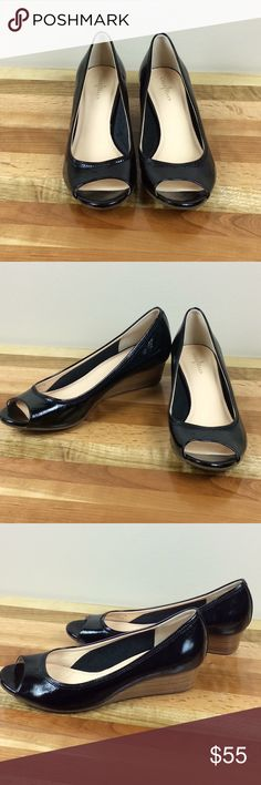 Cole Haan Tali Black Peep Toe Wedge Sandals Cole Haan Tali Black Open Peep Toe Wedge Slip On Sandals Women's 7.5 NikeAir Tech Cute and comfortable due to Nike air technology. Soft leather construction and wood grain stacked wedge heel. Cole Haan Shoes Wedges