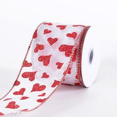 white with red glitter heart valentine ribbon