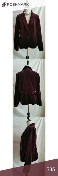 J.Crew Size 10 Velvet Blazer Jacket Wine Colored 100% cotton.   Lined.   Perfect for the holidays! J. Crew Jackets & Coats Blazers