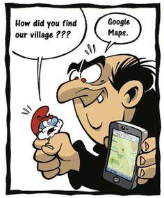 pas difficile de Schtroumpfer son chemin pour Gargamel avec Google maps !  http://erdelcroix.tumblr.com/post/31054423086