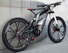 Audi's performance electric mountain bike complete with a carbon fibre frame, smartphone connectivity and the ability to perform wheelies with the aid of a built-in gyro!