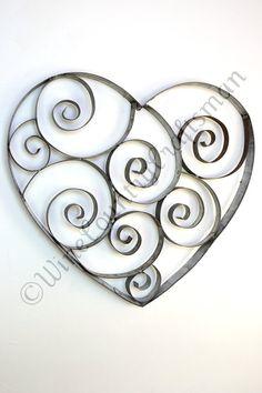 Wine Barrel Ring Heart with swirls 100 by winecountrycraftsman