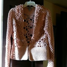 Pink crocheted cover up jacket. In perfect condition nine & CO Sweaters