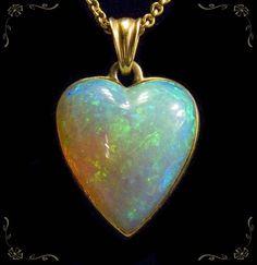 14 K Fire Opal Heart Pendant