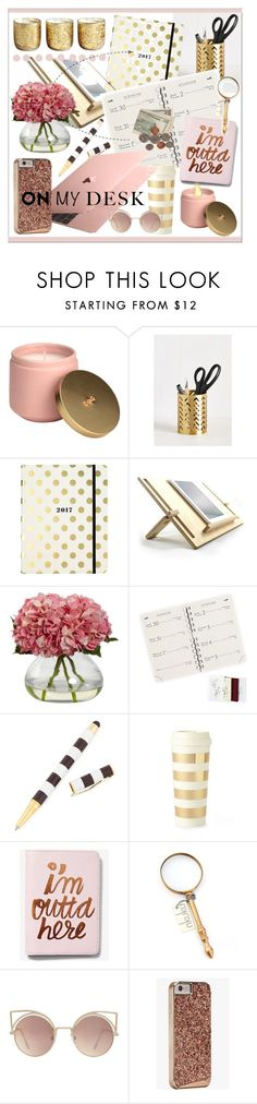 """""""What's On My Desk?"""" by calamity-jane-always ❤ liked on Polyvore featuring interior, interiors, interior design, home, home decor, interior decorating, Kate Spade, Henri Bendel, Express and NKUKU"""
