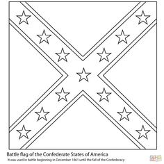 Battle Flag of The Confederate States of America coloring page from American Civil War category. Select from 23049 printable crafts of cartoons, nature, animals, Bible and many more. Super Coloring Pages, Flag Coloring Pages, Free Printable Coloring Pages, Coloring Sheets, Civil War Flags, Civil War Quilts, Confederate States Of America, Confederate Flag, Captain America Coloring Pages