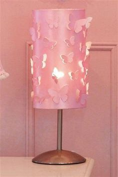 Pink Desk Lamp With Butterfly Cutout Cover Girly Themed Bedroom Girls Bedroom Set Butterfly Bedroom Accessories