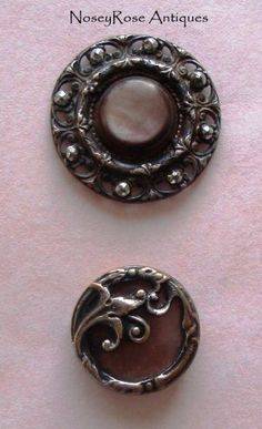 Pair Antique Brass & Celluloid Buttons  http://noseyrose.ecrater.com/p/10572085/pair-antique-brass-celluloid-buttons#