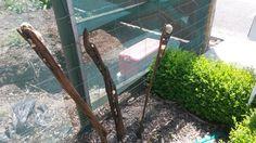 ' Garden Rods' $30 each NZ Dollars. NZ driftwood with beach stone insets
