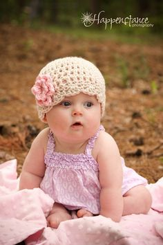 Baby Girl Crochet Hat, Beige with Pink Flower, 0 to 3 Months, Crochet Baby Hat