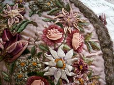 Breathtakingly beautiful metal and silk ribbon work pillow.under-dressed. Rose Embroidery, Silk Ribbon Embroidery, Embroidery Designs, Vintage Embroidery, Embroidery Stitches, Floral Ribbon, Ribbon Art, Silk Flowers, Fabric Flowers