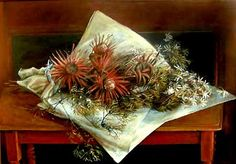 One of my most favourite Margaret Olley paintings.  Olley, Margaret - Flannel Flowers and Proteas - Naturalism - Still Life - Oil on cardboard