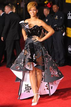 Rihanna will be honored with the 2014 CFDA Style Icon Award. How cool is this dress with the rose cut-outs? via @Harper's Bazaar