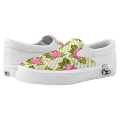 Tropical Flower Green Stripes Shoes Slip Ons  $78.25  by JoSunshineDesigns  - custom gift idea