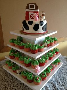 Farm themed cupcake tower with barn cake | Yelp