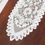 """Table Runner, Floral Vintage Lace, 13 inches x 6' 4"""" feet, Ivory $5"""