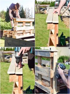 DIY seating made of pallets - for the terrace and the living room - # . Wood Pallet Tables, Pallet Furniture, Wood Pallets, Pallet Boards, Pallet Of Sod, Pallet Shed Plans, Pallets For Sale, Free Pallets, Photo On Wood
