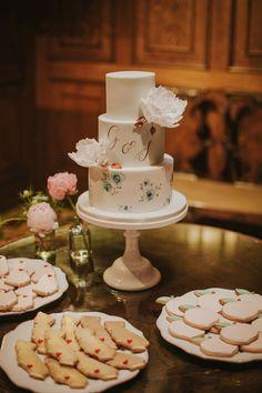 Personalised white wedding cake