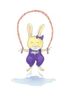 Rabbit+Jumping+Rope by+AbbyDoraDesign