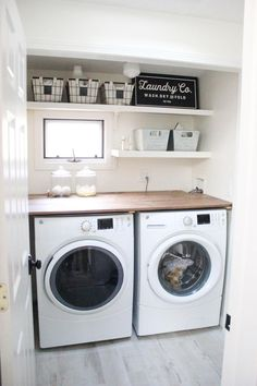 A budget-friendly farmhouse laundry room that's small, yet makes a large impact. The space is not only pretty, but functional for your laundry needs! room design large Home // Farmhouse Laundry Room - Lauren McBride Laundry Room Remodel, Basement Laundry, Farmhouse Laundry Room, Small Laundry Rooms, Laundry Room Organization, Laundry Room Design, Laundry Decor, Dark Basement, Laundry Storage