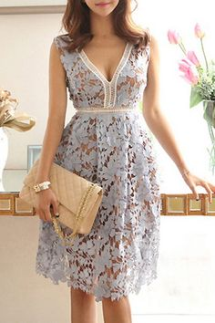 Sleeveless Plunging Neck Lace A-Line Dress For Women