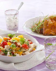 Couscous-salaatti | K-ruoka Ruokaisa couscous-salaatti sopii sellaisenaan illanistujaistarjottavaksi tai lisäkkeeksi esimerkiksi broilerin kanssa. My Cookbook, Food Goals, Couscous, Fried Rice, Potato Salad, Salad Recipes, Easy Meals, Food And Drink, Veggies
