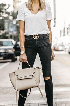 37c9b3ef7eda Woman Wearing White Tshirt Black Ripped Skinny Jeans Gucci Marmont Belt  Black Ankle Strap Heeled Sandals Celine Mini Belt Bag Fashion Jackson  Dallas Blogger ...