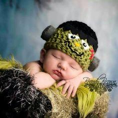 #newborn #frankenstein #crochet #photoprop #hat #Halloween #baby www.facebook.com/bellaacreations