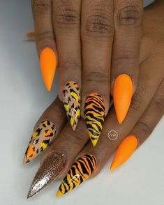 neon nails designs Once u become fearless life becomes limitless . Glam Nails, Neon Nails, Dope Nails, Fancy Nails, Trendy Nails, Neon Orange Nails, Neon Nail Art, Neon Nail Designs, Leopard Nail Designs