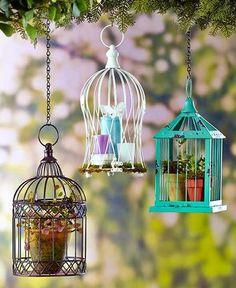 Decorative Metal Birdcage Planter Candle Holder Hanging White Turquoise Bronze